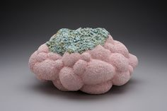 pink bubble cloud with turquoise crust,  Barbara Frey ceramics
