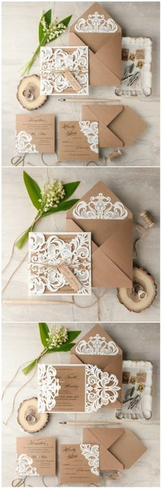 Romantic rustic wedding invitation with laser cut lace