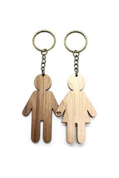 Laser Cut Wooden His and Her Key Chains - His and Her Key Ring - Walnut Wood…