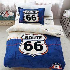 Unique Route  Print Blue Cotton  Piece Duvet Cover Sets