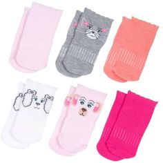 Growing Socks by Peds, Girls' Infant, Animal Faces, 6 Pairs - Walmart.com Shop now @walmart #PedsBaby #GrowingSocks