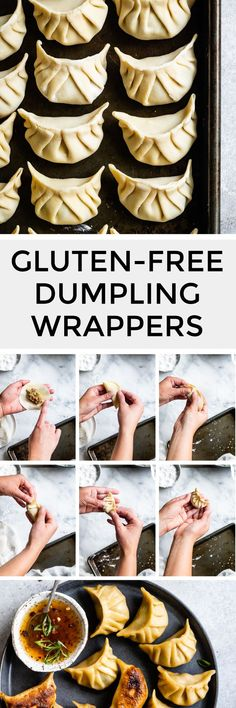Making gluten-free dumpling wrappers is easy with this tutorial on rolling, filling, and pleating gluten-free dumplings! With just gluten-free flours and water, these pliable gluten-free dumpling wrap Gluten Free Dumpling Wrapper Recipe, Gluten Free Dumplings, Vegan Dumplings, Gyoza Wrapper Recipe, Gluten Free Wonton Wrappers, Gluten Free Flour, Gluten Free Cooking, Vegan Gluten Free, Gluten Free Chinese Food