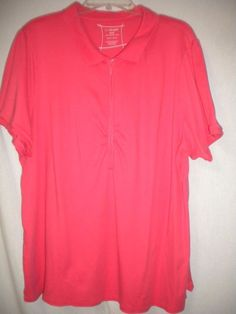 aaaa0ee75fd0f1 Lane Bryant Plus Size 26 28 Coral Short Sleeve 1 2 Zip Womens Blouse