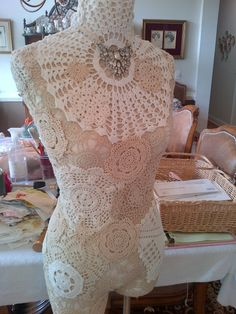 My Sunday Project-I added vintage doilies to one of my dress forms. Dress Form Mannequin, Cheap Dresses, Doilies, Altered Art, I Dress, Projects To Try, Crafty, Wedding Dresses, Linens