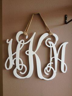 Wooden-Decor-White-3 letter monogram - Chloe Lane Boutique
