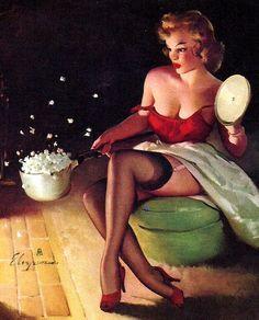 Vintage Pin Up Girl Illustration