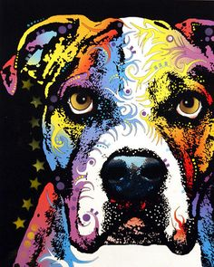 dean Russo Painting Dog Dogs Pet Pets american Bulldog american Bull Dog Portrait Graffiti pop Art Pop American Bulldog bull Dog Akc Bully Bullie Doggy Doggies Painting - American Bulldog by Dean Russo