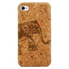 Hindu Paisley Pattern Elephant- Laser Engraved Wood Phone Case (Maple,Cherry,Black,Cork)