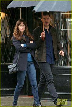Jamie Dornan and Dakota Johnson on set Fifty Shades Darker in Vancouver March 7