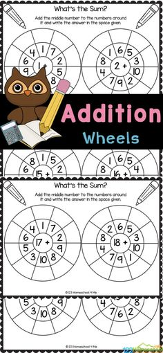 These fun, free addition wheels are a great way to practice addittion problems with your student! These addition worksheets for kindergarten and first grades to memorize simple additionwithin 20 facts. Using these kindergarten math workshets additionfor great preparation for learning more advanced math skills in the future. Simply print math addition worksheets to have fun practicing addition for kids with no-prep simple addition worksheets.