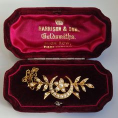 Victorian 15ct Gold Seed Pearl set Floral Spray & Crescent Brooch c1890 in Box  | eBay