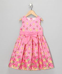 Take a look at this Pink Floral Lola Dress - Toddler & Girls by Joe-Ella on #zulily today!