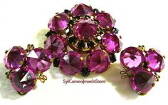 Vintage Magenta Jewelry Set Brooch & by SylCameoJewelsStore