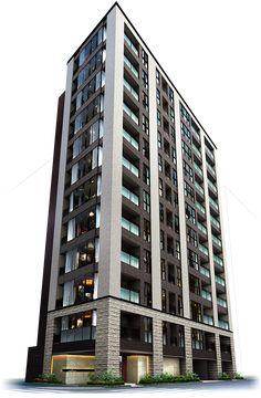 外観完成予想図 Building Renovation, Building Exterior, Building Facade, Building Design, Small Buildings, Modern Buildings, Beautiful Buildings, Architecture Images, Facade Architecture