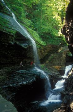 #Rainbow #Falls in #Watkins Glen State #Park in New York's Finger #Lakes region charmed Mark #Twain to write about it in 1871. Find out more about this beautiful park in my blog at ithacafingerlakes.com.  #waterfalls, #waterfall, #falls, #gorge, #canyon, #parks, #trail, #hiking, #photography, #watkinsglen, #fingerlakes