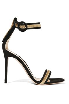 Gianvito Rossi Portofino metallic embroidered suede sandals $1,095 Heel measures approximately 100mm/ 4 inches Black suede Buckle-fastening ankle strap Made in Italy