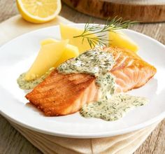 Salmon in lemon and dill sauce- Lachs in Zitronen-Dill-Soße Salmon fillet in a sauce with mustard, lemon and fresh dill - Healthy Pasta Recipes, Healthy Pastas, Shrimp Recipes, Clean Eating Recipes, Sauce Recipes, Fish Recipes, Beef Recipes, Cooking Recipes, Dill Sauce For Salmon