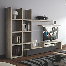 We have a huge blank wall where the TV is Interior Design Living Room, Living Room Decor, Mdf Furniture, Framed Tv, Blank Walls, Bookcase, Decoration, Wall Units, Tv Units