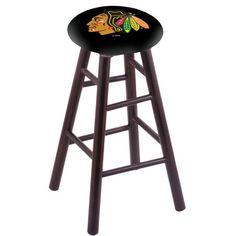 "Holland Bar Stool NHL 24"" Bar Stool with Cushion Finish: Dark Cherry, NHL Team: Chicago Blackhawks - Black"