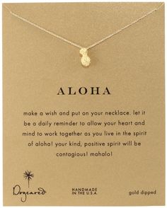 "Dogeared Reminder ""Aloha"" Gold-Plated Silver Pineapple Pendant Necklace"