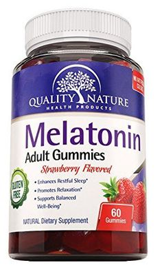Melatonin 5000 mcg Supplement for Sleep Aid Yummy Gummies Strawberry Flavored ALL Natural Gluten FREE Kosher  Halal Certified offered by Quality Nature >>> Want additional info? Click on the image.