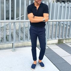 Black polo navy trouser and @superdryglobal #espadrilles by @keymanstyle [ http://ift.tt/1f8LY65 ]