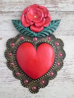 Painted Tin Heart with Rose - Punched Tin Heart, Mexican Folk Art