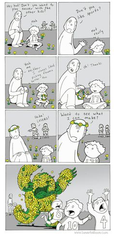 "Yasss xD ""my dad can make a dandelion monster that can for sure bear up your dad"""