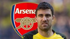 Sokratis Papastathopoulos admits that Pierre-Emerick Aubameyang and Henrikh Mkhitaryan helped to talk him into a move to Arsenal, with the former Borussia Dortmund team-mates being reunited in north London. Pierre Emerick, North London, Arsenal, Transfer News, Goals, Baseball Cards, Borussia Dortmund