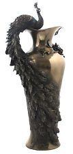 Veronese Bronze Figurine Art Nouveau Peacock Prunus Vase Gift Home Decor