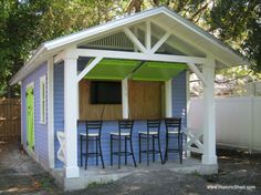 Fun She Shed Conversion Ideas - 10 Simple Potting Shed transformation ideas for your garden outdoor space Garden Shed Ideas Design - Estilo Key West, Cabana, Shed Conversion Ideas, Party Shed, Livable Sheds, Pool Shed, Pub Sheds, Custom Sheds, Shed Kits
