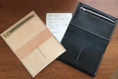 Leather Insert with cards slots and folders + zipper for Notebooks Midori