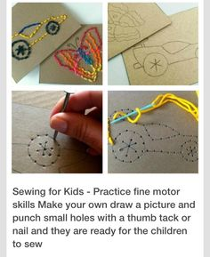 Fine motor skill work + learning to sew. This is right up my daughter's alley today!