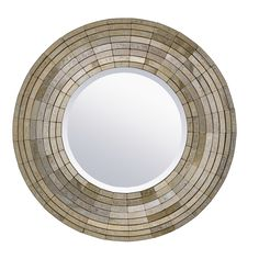 """The updated traditional design of the Goldsmith mirror surrounds a round beveled mirror with Gold Antique tiles that coordinate beautifully with so many on trend color schemes. 32""""W"""