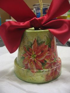 Christmas Bell from clay pot by DecoupageArt, via Flickr