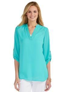 4aff2dd279 Mandarin Collar V Neck Popover Top Tops Cato Fashions Plus Size Women s Tops