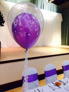 Double bubble balloon with butterfly print by Made Marvellous