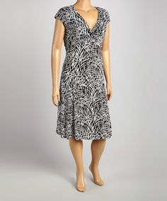 Love this Black & White Brushstroke V-Neck Cap-Sleeve Dress - Plus by Glamour on #zulily! #zulilyfinds