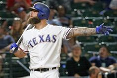 FILE - Texas Rangers first baseman Mike Napoli (5) is pictured during the Detroit Tigers vs. the Texas Rangers major league baseball game at Globe Life Park in Arlington on Tuesday, August 15, 2017. (Louis DeLuca/The Dallas Morning News)