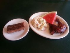 Brighten your cloudy day with our BBQ Chicken, complete with Potato salad & Watermelon. Finish it off with a slice of Chocolate cake!