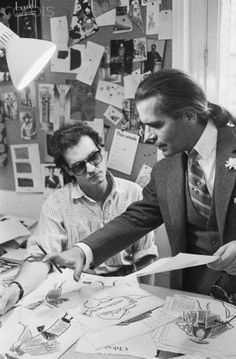 Atelier haute couture, sewing, Fashion atelier, fashion making, 1983 - Karl Lagerfeld   at Chloe by Pierre Vauthiey