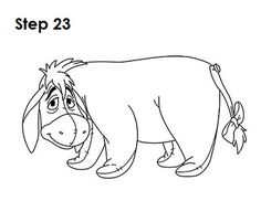 Learn how to draw Eeyore from Walt Disney's Winnie-the-Pooh tutorial and video. A new cartoon drawing tutorial is uploaded every week, so stay tooned! Drawing Cartoon Characters, Cartoon Drawings, Art Drawings, Winnie The Pooh Drawing, Disney Winnie The Pooh, Rock Painting Patterns, Cartoon Drawing Tutorial, Eeyore, Learn To Draw