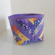 Panier de rangement en tissu, mauve et multicolore