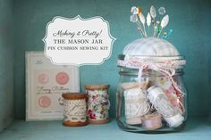 I'm a big fan of the mason jar pin cushion, complete with a basic sewing kit inside ~ it's useful, portable, and convenient. Of course, you could fill the jar with one of those emergency...