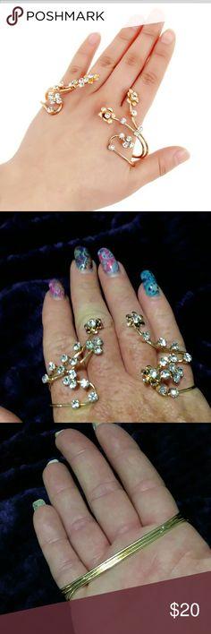 Rhinestone flower bangle palm ring Rhinestone flower bangle palm ring,  gold plated Jewelry Rings