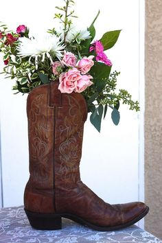 Beautiful centerpiece at a cowgirl birthday party! See more party ideas at CatchMyParty.com!
