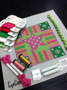 Eye Candy canvas from It's not your Grandmother's Needlepoint blog (Bedecked and Beadazzled)