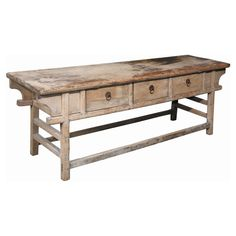 Natural wood character eeks from every pore of the 3 Drawer Reclaimed Wood Butcher Table / Server - Driftwood . Square legs, solid braces and a thick,. Funky Furniture, Kitchen Furniture, Home Furniture, Furniture Ideas, Driftwood Furniture, Paint Furniture, Furniture Inspiration, Unique Furniture, Industrial Furniture