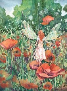 pieces jigsaw puzzle) Vintage fairy and poppies illustrations Fairy Dust, Fairy Land, Fairy Tales, Fairy Pictures, Vintage Fairies, Love Fairy, Beautiful Fairies, Flower Fairies, Poppies