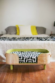 interesting pattern to make curves out of the wood. A cool looking dog bed for our bedroom. | {My dream BEDROOM} | Pet Beds, Pets and Beds